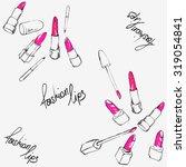 lipstick seamless pattern | Shutterstock .eps vector #319054841