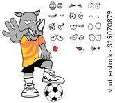 rhino soccer cartoon expression ... | Shutterstock .eps vector #319070879