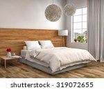 Bedroom With Wood Trim. 3d...