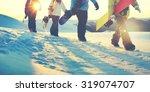 People snowboard winter sport...
