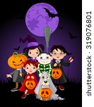 halloween children trick or... | Shutterstock .eps vector #319076801
