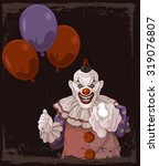 the scary clown holds balloons | Shutterstock .eps vector #319076807