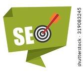 green seo with dart hitting a... | Shutterstock . vector #319083245
