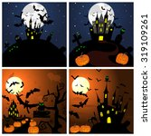 set of halloween greeting cards.... | Shutterstock .eps vector #319109261