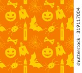halloween seamless pattern with ... | Shutterstock . vector #319117004