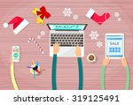 hands hold device electronics...   Shutterstock .eps vector #319125491