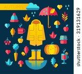 rainy autumn flat design set   Shutterstock .eps vector #319131629