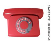 Retro Phone In Red Colors