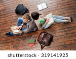 girl and boy reading books... | Shutterstock . vector #319141925