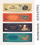 set of vector halloween party... | Shutterstock .eps vector #319147991