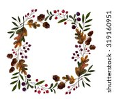 watercolor autumn wreath.... | Shutterstock . vector #319160951
