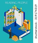 reading people 3d isometric... | Shutterstock .eps vector #319174319