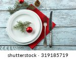 empty plate  cutlery  napkin... | Shutterstock . vector #319185719