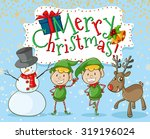 christmas elf and snowman... | Shutterstock .eps vector #319196024