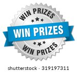 win prizes 3d silver badge with ... | Shutterstock .eps vector #319197311