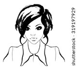 ink portrait of beauty asian | Shutterstock . vector #319197929