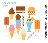 ice cream set  flat design ... | Shutterstock .eps vector #319202885