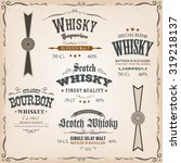 whisky labels and seals on... | Shutterstock .eps vector #319218137