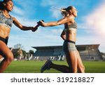 female athletes passing over... | Shutterstock . vector #319218827