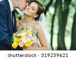 beautiful bride and groom in... | Shutterstock . vector #319259621