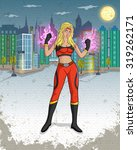 retro style comics superwoman... | Shutterstock .eps vector #319262171