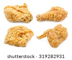 Set Of Fried Chicken Isolated...
