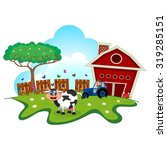 cow cartoon in a farm for your