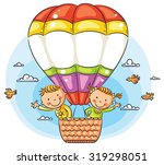 happy cartoon kids traveling by ... | Shutterstock .eps vector #319298051