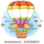happy cartoon kids traveling by ...   Shutterstock .eps vector #319298051
