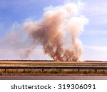 the fire and heavy smoke in the ... | Shutterstock . vector #319306091