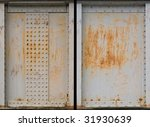 set of two rusty metal plate - stock photo