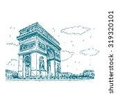 arc de triomphe  paris  france. ... | Shutterstock .eps vector #319320101