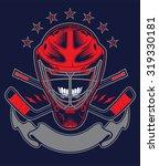 hockey helmet and banner for... | Shutterstock .eps vector #319330181