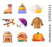 autumn symbols  umbrella  warm... | Shutterstock .eps vector #319331111