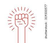 thin line red hand up icon.... | Shutterstock .eps vector #319333577