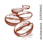 painted coffee beans  sketch ... | Shutterstock .eps vector #319334441