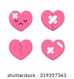 Set Of Cartoon Broken Hearts...