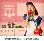 retro young woman talking on... | Shutterstock . vector #319359851