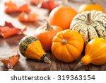 Decorative Pumpkins And Autumn...