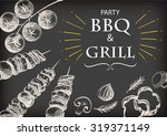 barbecue grill meat food and... | Shutterstock .eps vector #319371149