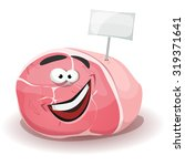 funny ham character with white... | Shutterstock .eps vector #319371641
