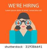 woman with binoculars looking... | Shutterstock .eps vector #319386641