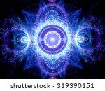 Blue Glowing Mandala Fractal ...