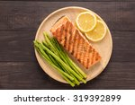 grilled salmon with lemon ... | Shutterstock . vector #319392899