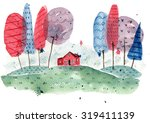 House In The Woods Watercolor