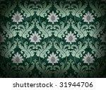 Decorative emerald green renaissance background - stock photo