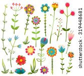 colorful cartoon wild flowers... | Shutterstock . vector #319448681