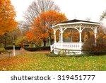 White Gazebo And Autumn Trees...