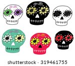 set of colorful sugar skulls...