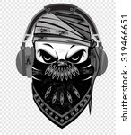 skull with bandanna and earphone | Shutterstock .eps vector #319466651